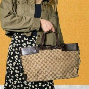 Gucci Tote bag GG canvas leather brown